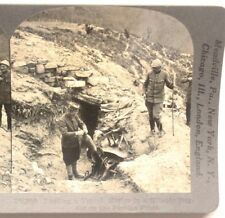 WWI Stereoview card:  Loading French Mortar on Serbian Front