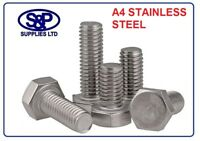 M10 X 40MM A4 316 STAINLESS STEEL HEXAGON HEAD  FULLY THREADED BOLT 10MM X 40MM