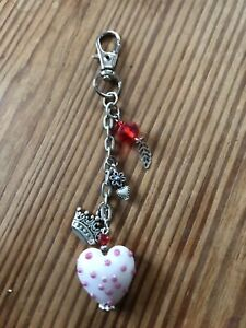 White With Pink Spots Glass Heart Keyring By JSDESIGNS