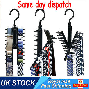 Tie Hanger Rack Organizer Rotating Belt Holder Closet Hook Ties Storage Necktie