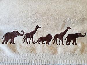 Avanti Towel Set 6-piece Brown Animal Walk Lion Giraffe Elephant UNUSED