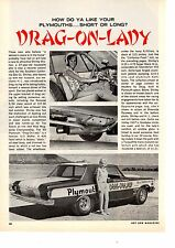 1965 PLYMOUTH 426 HEMI - SHIRLEY SHAHAN DRAG RACING ~ ORIGINAL 3-PG ARTICLE / AD
