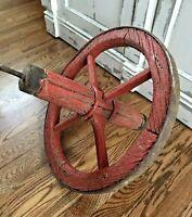 Antique Primitive Wood Wheel Barrel Metal Band