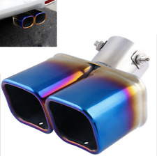 Universal Blue Bent Dual Steel Exhaust Tip Tail Pipe Car Muffler Cover 35-60mm