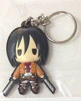 Attack on Titan rubber keychain key holder ring chain anime Mikasa Ackerman