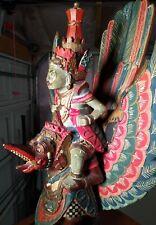 "Rare Hardwood Antique Carving Vishnu Being Carried by Garuda Bali Polychrome 21"""