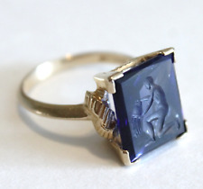 Vintage Art Deco 14k Intaglio Aquarius Water Carrier Ring Size 5.5