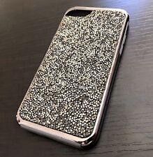 iPhone 7 / 8 - HARD HYBRID ARMOR IMPACT CASE COVER BLACK CRYSTAL DIAMOND STUDS