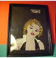 Marilyn Monroe beaded portrait and rhinestone name pin