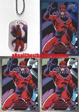 Magneto Dog Tag + 2 Base Cards & 1 Foil Card - Upper Deck Marvel Dossier X-Men