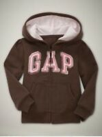 NWT Baby GAP Sparkly Arch Logo Hoodie Sweatshirt Activewear Carob Brown 2T 5T