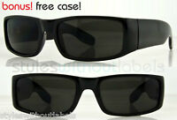 Square Cholo Wrap Sunglasses Super Dark Lens LOC OG Frames Biker Eazy E Shades