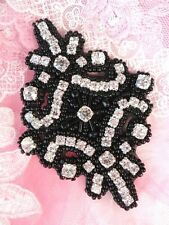 "Applique Crystal Glass Rhinestones Black Beads 4"" Sewing Crafts Patch (JB115)"
