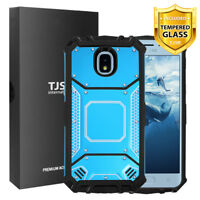 TJS For Samsung Galaxy J7 Star/Crown/V 2018 Metal Armor Hard Case+Tempered Glass