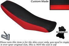 Negro Y Rojo Custom encaja Honda Xr 100 01-03 Doble Cuero Funda De Asiento