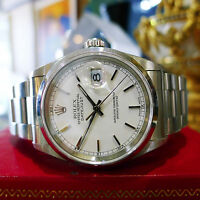 MENS ROLEX OYSTER PERPETUAL DATEJUST STAINLESS STEEL WATCH