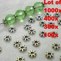 Lots of 1000 Tibetan Silver 4mm Daisy Spacer Beads Bead Jewellery Findings