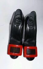 Roger Vivier Shoes Belle de Nuit Red Black Pumps  Purple Heels  Size 35 US 5