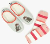 Joules GIFT SET Ladies Womens Winter Warm Soft Socks And Slippers Set Grey Cat