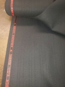 Super 120'S  English wool suit fabric 5 Yards wool suiting fabric Black Stripe