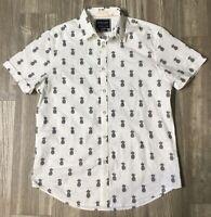 Denim & Flower Ricky Singh Pineapple Med Men's Slim Fit Button Up Shirt NWOT J3