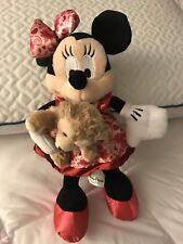 "NWT 2014 Disney Parks 9"" Valentine Minnie Plush With Duffy The Disney Bear"