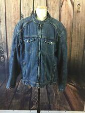 Fieldsheer Padded Denim Racer Full Zip Jean Motorcycle Jacket Size 2XL