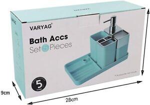 Bathroom Accessory - 5 Pieces Bath Set in Blue, White, Pink