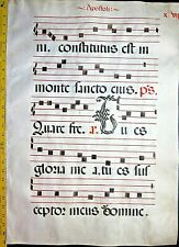Huge  Antiphonary Manuscript Lf.Vellum,unusual T initial,c.1500 #17