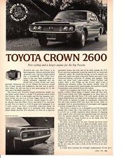 1972 TOYOTA CROWN 2600 ~ ORIGINAL 3-PAGE ROAD TEST / ARTICLE / AD