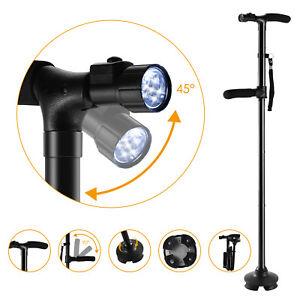 Magic Cane Folding LED Safety Walking Stick 4 Head Pivoting Trusty Base Black