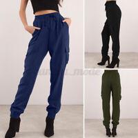 Mode Femme Pantalons Long Cargo Décontracté Taille élastique Casual en vrac Plus