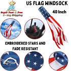 American US Flag Windsock Patriotic Decoration Embroidered Vivid Colors 40 Inch