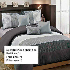 4 Piece Brushed Microfiber Bedding Sheet Set Collection -Striped Gray, King Size