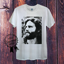 Jim Morrison T-Shirt The Doors Retro Vintage Rock Grey In White Cotton USA Tee