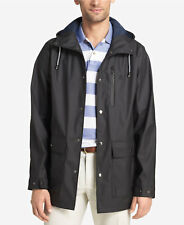 $699 IZOD Men BLACK HOODED RAIN-COAT TRENCH WATERPROOF WINDBREAKER JACKET SIZE L