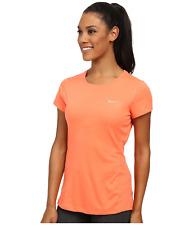 Nike Women's Dri-FIT Running Miler UV 40 Short Sleeve Peach Crew Shirt S