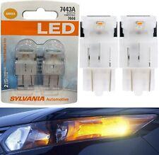 Sylvania Premium LED Light 7444 Amber Orange Two Bulbs Front Turn Signal OE Lamp