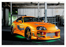 FAST AND FURIOUS SUPRA ORANGE CAR WALL ART CANVAS PICTURE PRINT 20X30INCH