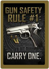 """Rivers Edge Products Tin Sign Gun Safety #1 Size 12"""" x 17"""" mfg 1461"""