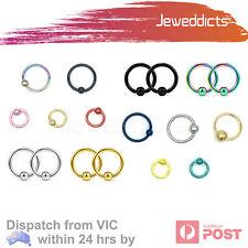 1-6pcs Captive Bead Ring Piercing Hoop Lip Eyebrow Ear Tragus Helix Nipple Nose