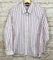 Foxcroft button down shirt blouse womens 16 non iron shaped purple stripe BX2