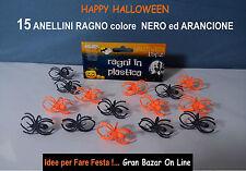 HALLOWEEN ANELLI RAGNO GADGETS 15 Pz  BABY FESTA HORROR PARTY REGALINI
