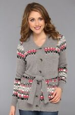Pendleton Womens Fair Isle Cardigan Sweater Gray Multi Belted M Nwt $189