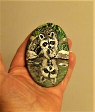 ORIGINAL HAND PAINTING RACCOON IN WATER REFLECTION ROCKS ON RIVER ROCK
