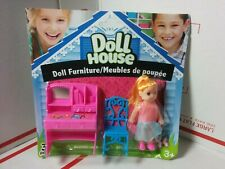 Plastic Doll House Furniture with Doll Desk Chair NEW on CARD NOC Sealed Blister