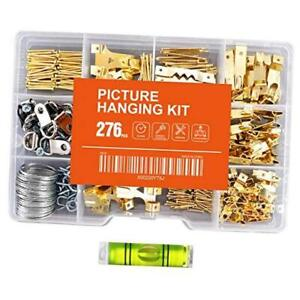 276pcs Picture Hanging Kit Picture Hanger Assortment with Picture Hooks, Wire, N