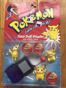 POKEMON-PIKACHU-Poke BALL BLASTER-with battle discs  #25  In 3 Poses-NOS vintage