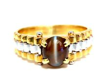 GIA Certified 2.31ct Natural Cats Eye Rolexx Band Ring 18 Karat Gold