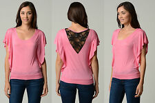 SMALL PINK WOMEN SEXY FASHION SLIM SOFT SUMMER CASUAL DOLMAN TOP BLOUSE SHIRT